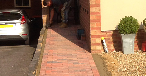 Block paving side of house